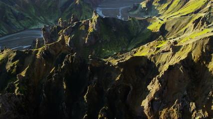 Aerial Iceland glacial meltwater river deltas volcanic peaks National Park