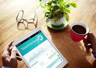 Stock Exchange Online Digital Device Concept