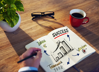 Man Note Success Thinking Planning Concept
