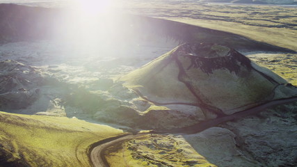 Aerial sun flare Iceland mountain region extreme hiking glacial unpolluted
