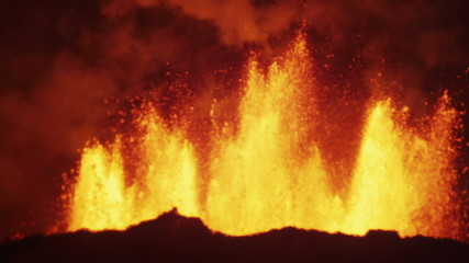 Night Scenic Fire Volcanic Molten Lava Exploding Magma Open Fissures Iceland