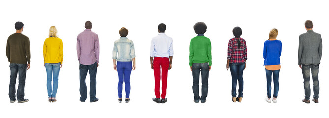 Multiethnic Group People Standing Rear View Concept
