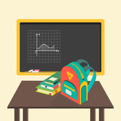 illustration of school board, books and schoolbag