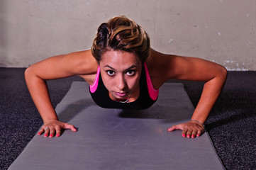 Push-ups with determination and focus