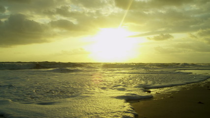 Calm Ocean Waves Sunrise Deserted Beach