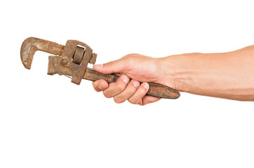 closeup of hand holding a wrench