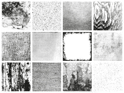 collection of 12 grungy vector patterns - various materials - 76952644