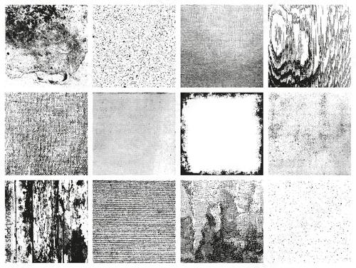 fototapeta na ścianę Kolekcja 12 grungy wzorów wektorowych - różne materiały
