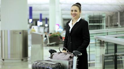 Female Caucasian Airport Flight Passenger Business Corporate Meeting