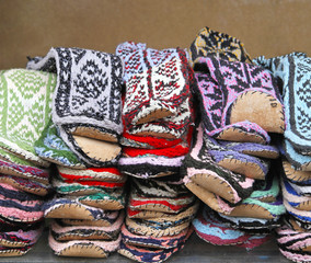 Leather sole socks