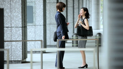 Asian Japanese Females Outdoors Business Successful Financial Career