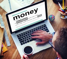 Digital Dictionary Money Bills Coins Budget Risk Concept