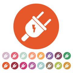 The electric plug icon. Electric Plug symbol. Flat