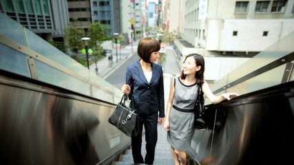 Young American Asian Japanese Girls Business Financial Executives