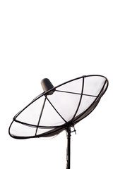 Satellite antenna on white background
