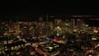 Aerial illuminated rooftop Skyscrapers San Francisco, USA