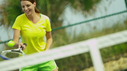 Healthy Young Caucasian Female Outdoor Tennis Court