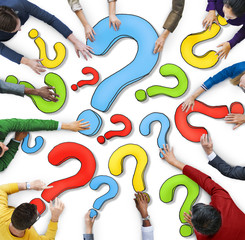 Multiethnic Group People Question Mark Concept
