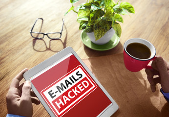 E-mails Hacked Warning Digital Device Wireless Browsing Concept