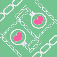 love symbol with handcuffs