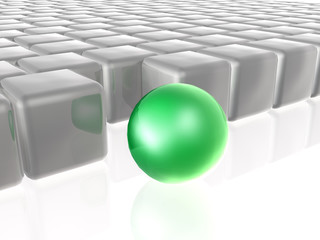 Green sphere with grey cubes