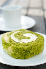 Afternoon Tea with Green tea cake roll