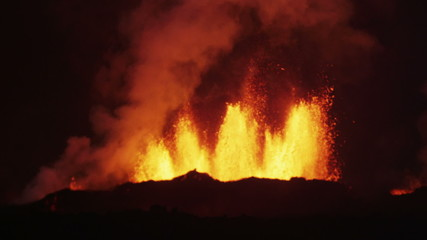 Darkness Hot Lava Holuhraun Volcano Eruption Explosion Molten Magma Iceland