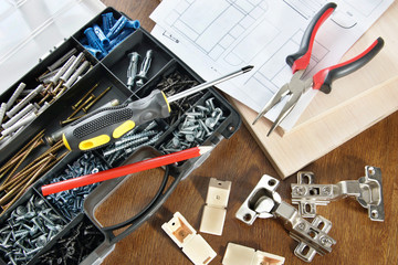 Various working tools for assembly of furniture
