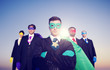 Businessmen Superhero Aspirations Skyline Success Concept