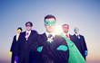 Businessmen Superhero Aspirations Skyline Success Concept