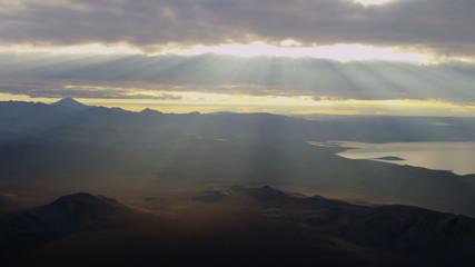 Aerial glacial lake river deltas distant Katla active volcano Iceland