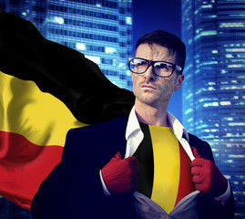 Businessman Superhero Country Belgium Flag Culture Power Concept