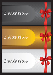 Luxury invitation cards design with Red Ribbon