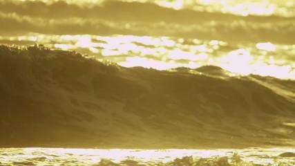 Golden Sunrise Over Ocean Waves Full Frame