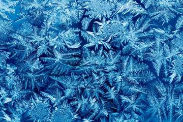 Frost patterns on house glass macro