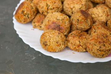 vegetarian round cutlets on plate