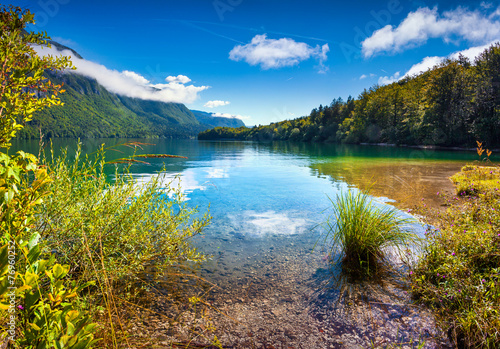 Colorful summer morning on the Bohinj lake - 76960252