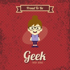 genius geek retro cartoon