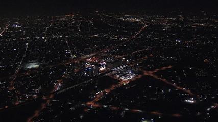 Aerial Metropolis Tokyo illuminated suburban Urban city transportation Japan