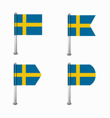 set of four flags Sweden
