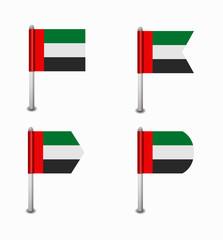 set of four flags United Arab Emirates