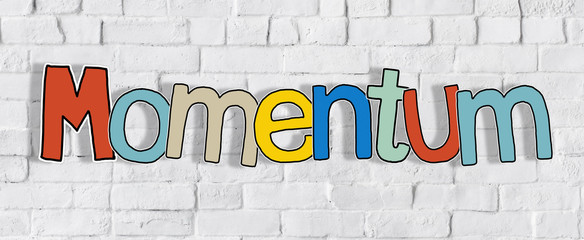 Momentum Brick wall Single Word Text Background Clean Concept