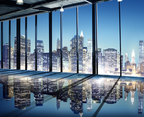 Office Cityscape Builidings Contemporary Interior Room Concept