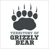 footprint grizzly bear - vector illustration