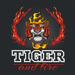Tiger head hand and fire - vector illustration