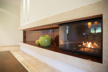 Fireplace inside modern interior