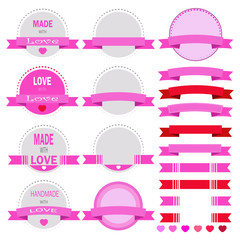 Vector set of artistic valentines day
