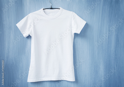 White t-shirt on hanger - 76963662