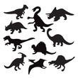 different dinosaur silhouette - 76964827