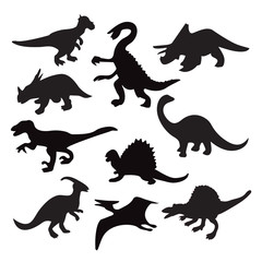 different dinosaur silhouette